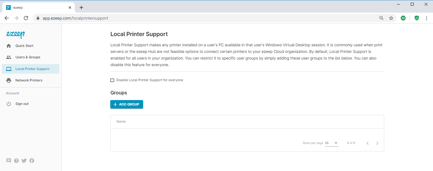screenshot: adding groups for local printer support