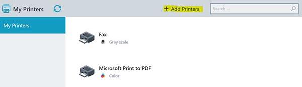 screenshot: adding new printers via the Printer Self Service
