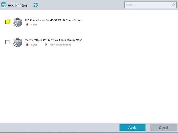screenshot: selecting a printer to add via the Print Self Service