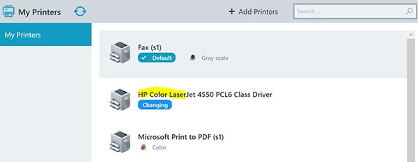 screenshot: added printer shows up in the Printer Self Service