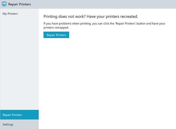 screenshot: repairing printer settings with the Printer Self Service