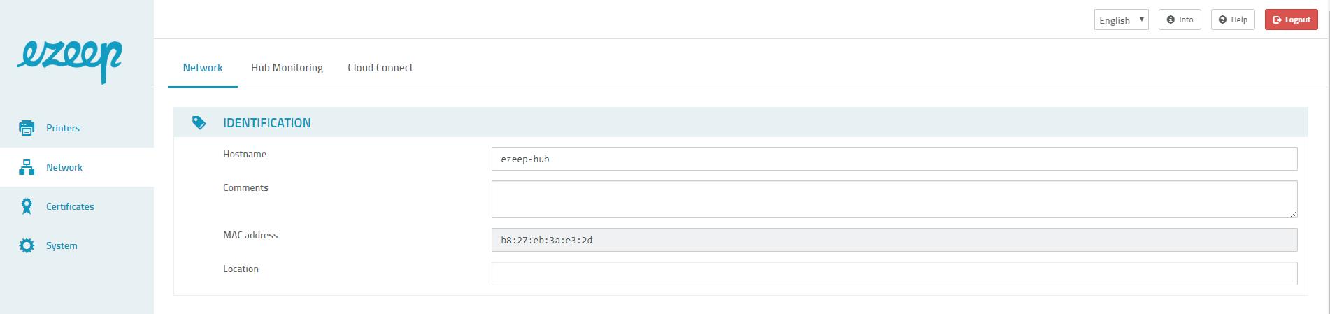 screenshot: ezeep Hub network settings