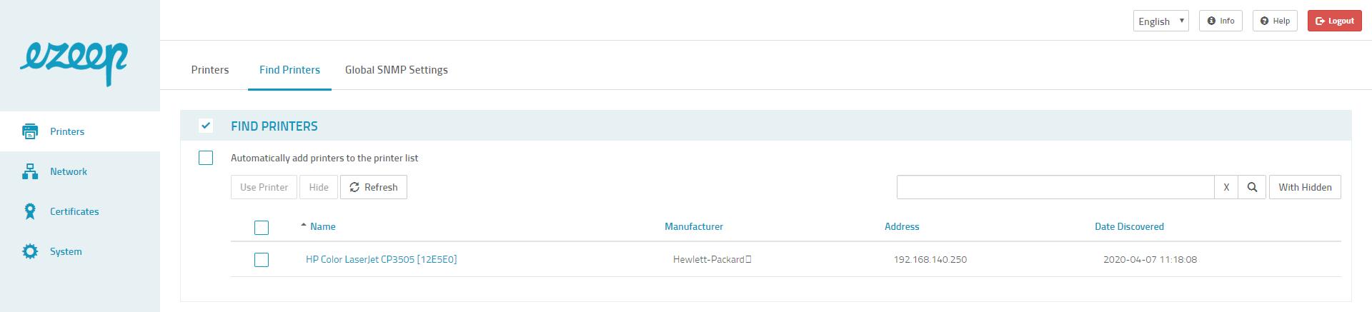 screenshot: ezeep Hub automatic printer detection