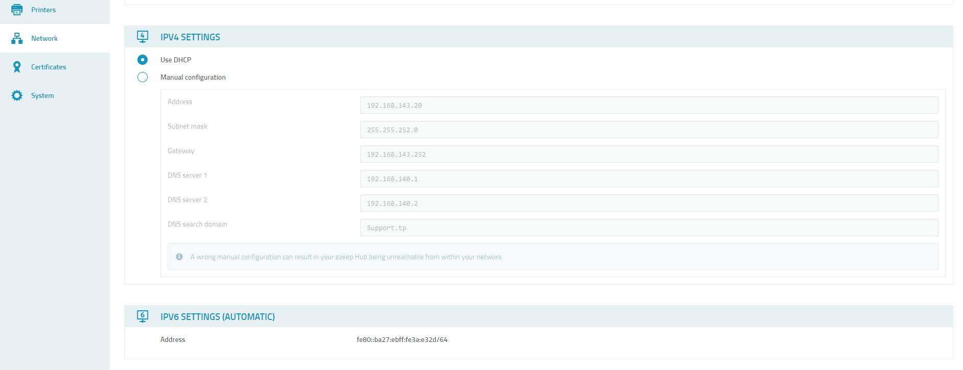 screenshot: ezeep Hub IP4 settings