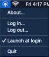 screenshot: MacOS connector tray menu