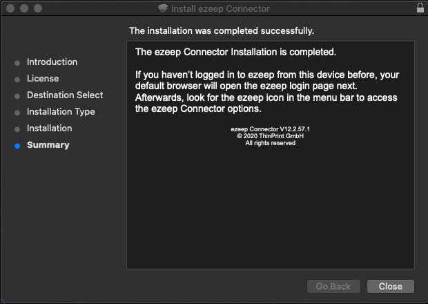 screenshot: installation complete
