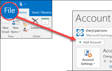 Select File, then Add Account.