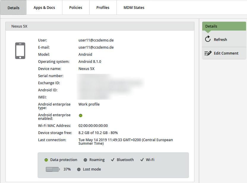 Geräteinformationen eines iOS-Geräts (Supervised)