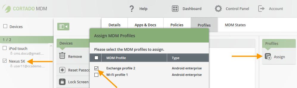 Unter Control Panel→ Profiles erstelltes Profil, einem weiteren Gerät zuweisen