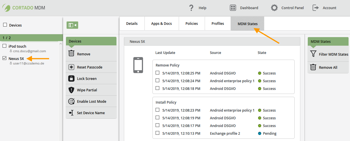 Devices→ MDM States auf einem Android-Gerät