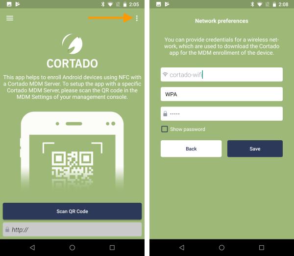 App-Einstellungen öffnen (links), WLAN konfigurieren (rechts)