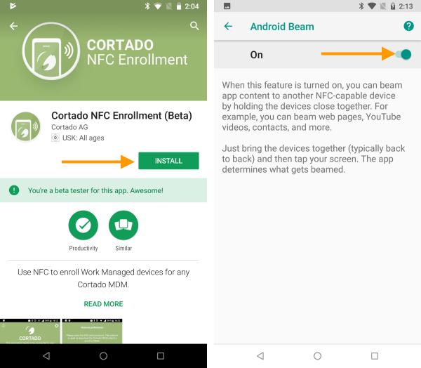 NFC-App installieren und Android Beam einschalten