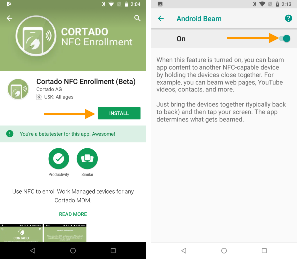 Install NFC-App and enable Android Beam