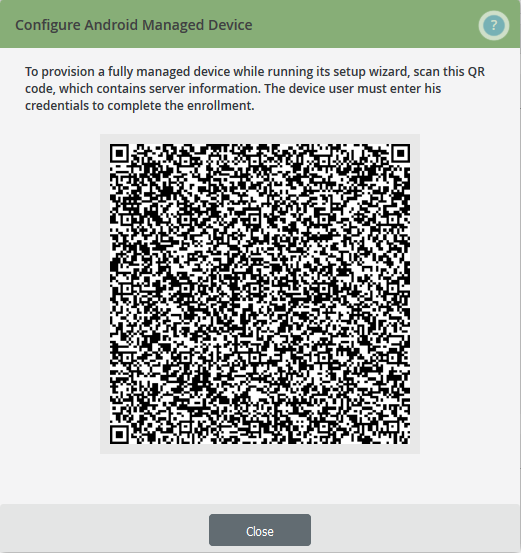 QR code for the user device configuration