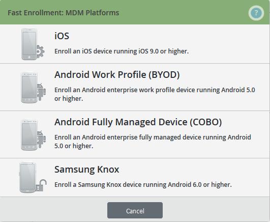 MDM-Plattform auswählen