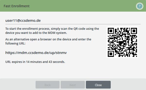 Geräte der Nutzer konfigurieren, QR-Code scannen