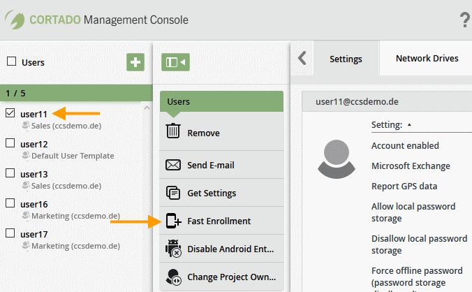 Geräte der Nutzer konfigurieren, Fast Enrollment wählen