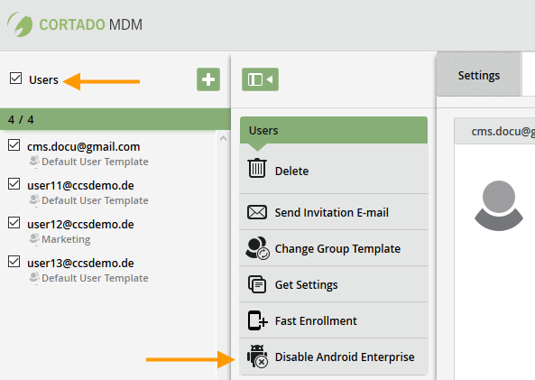 disable users for Android Enterprise