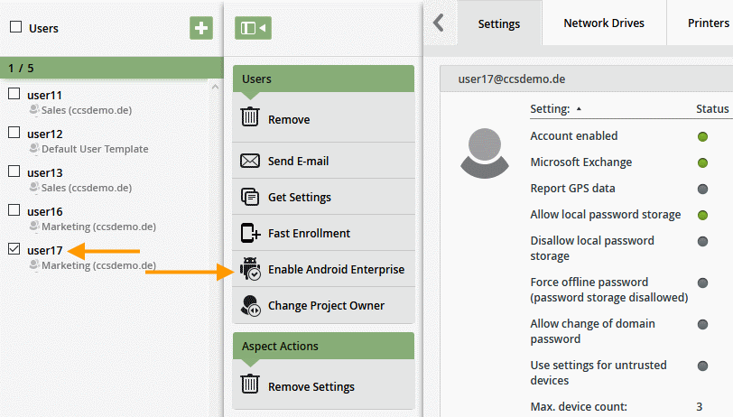 Android Enterprise für einzelnen Nutzer aktivieren