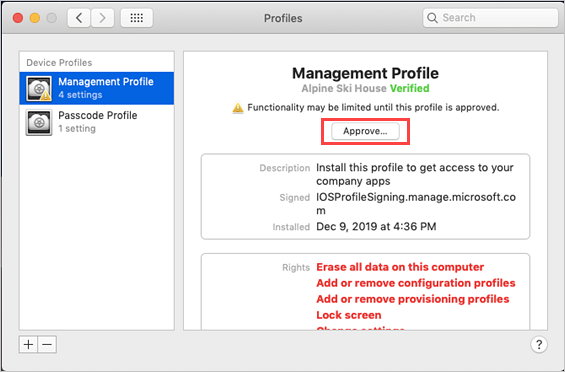 "Example screenshot of System Preferences, Management Profile screen, highlighting ""Approve"" button."