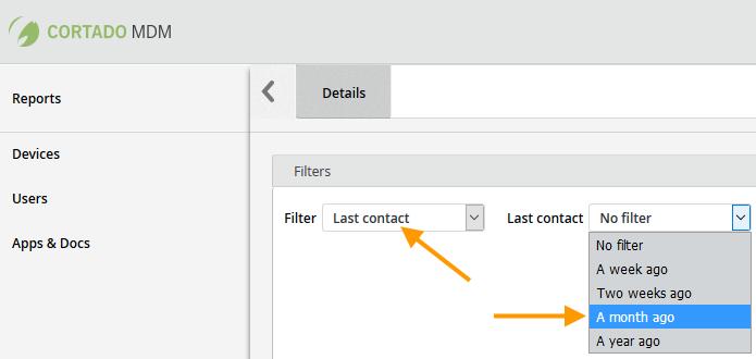 unter Last contact verfügbare Filter (Beispiel)