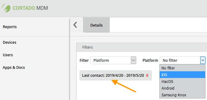 unter Platform verfügbare Filter (Beispiel)