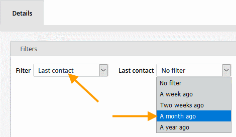 Filters available under Last contact (example)