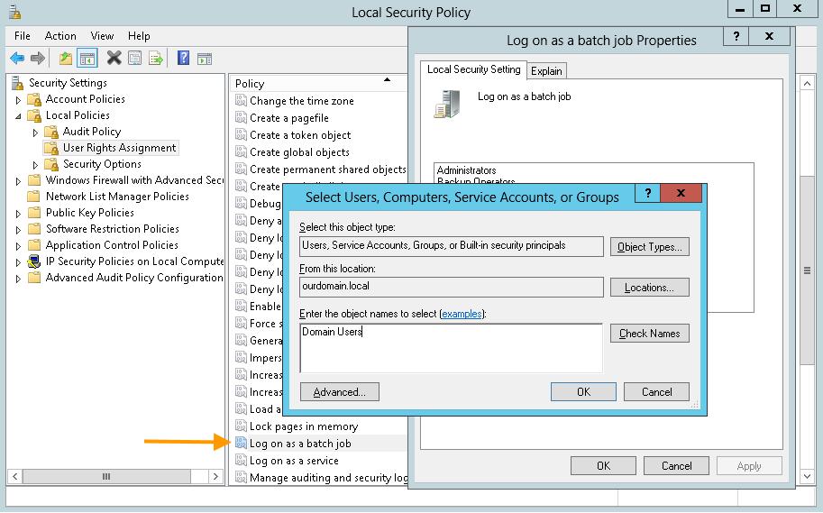 Mobile-Print-Server: Domain User der Gruppenrichtlinie Log on as a batch job hinzufügen