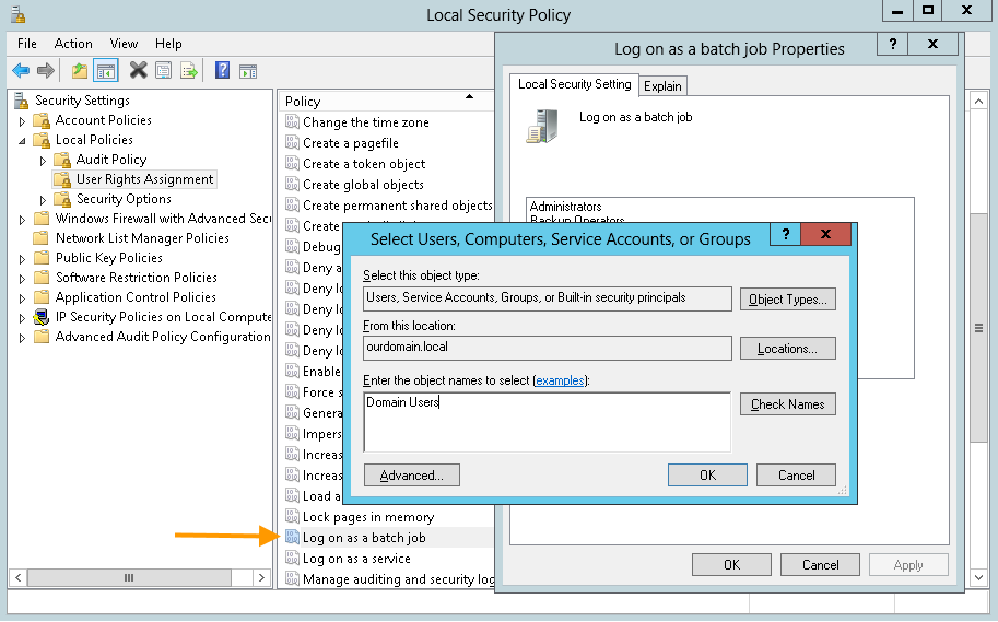 Cortado server: Domain User der Gruppenrichtlinie Log on as a batch job hinzufügen