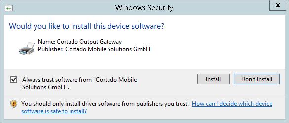 Cortado Output Gateway installieren