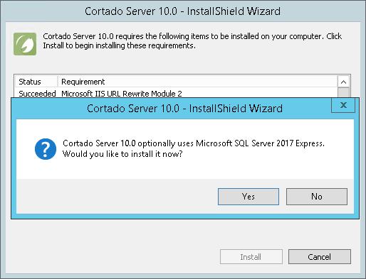 Optional: installation of a local SQL server
