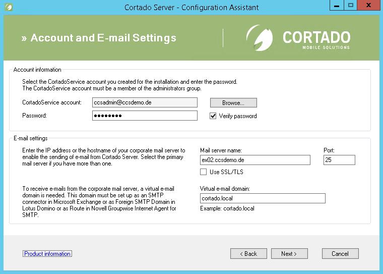 Settings for e-mail forwarding (example for Microsoft Exchange)