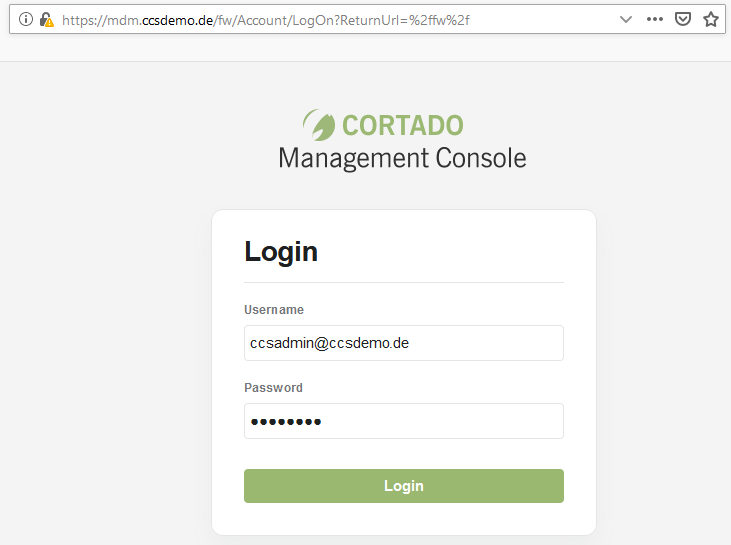Login of the web based Cortado server's Configuration Console