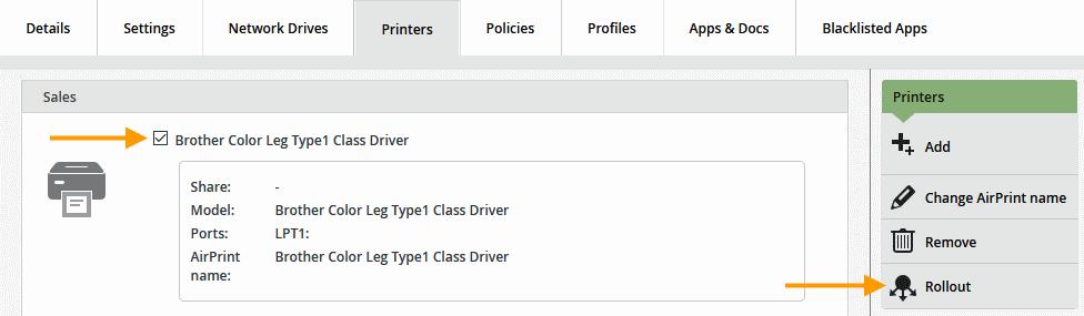 Einzelnen Drucker auf bereits zuvor importierte Nutzer ausrollen (Bsp.)
