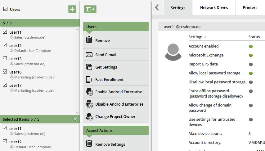 Nutzerverwaltung (Users) - weitere Optionen
