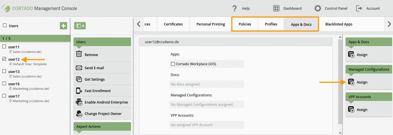 Managed Configurations zuweisen (Beispiel)