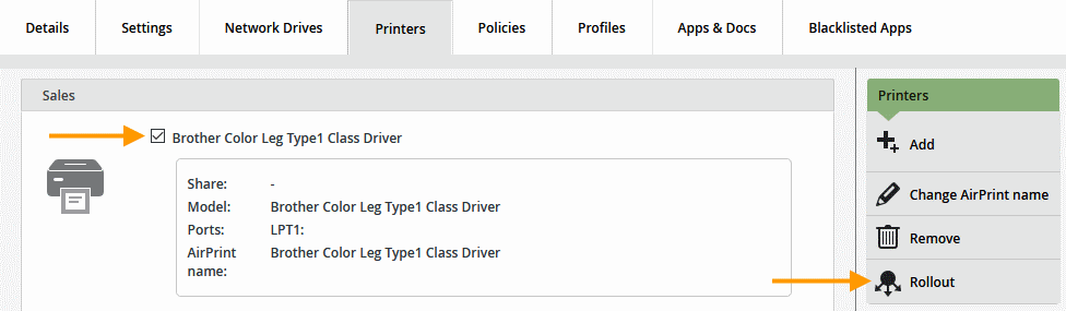 Rolling out a printer for previously imported users (example)