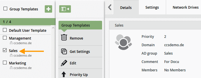 Templates set up for three AD groups