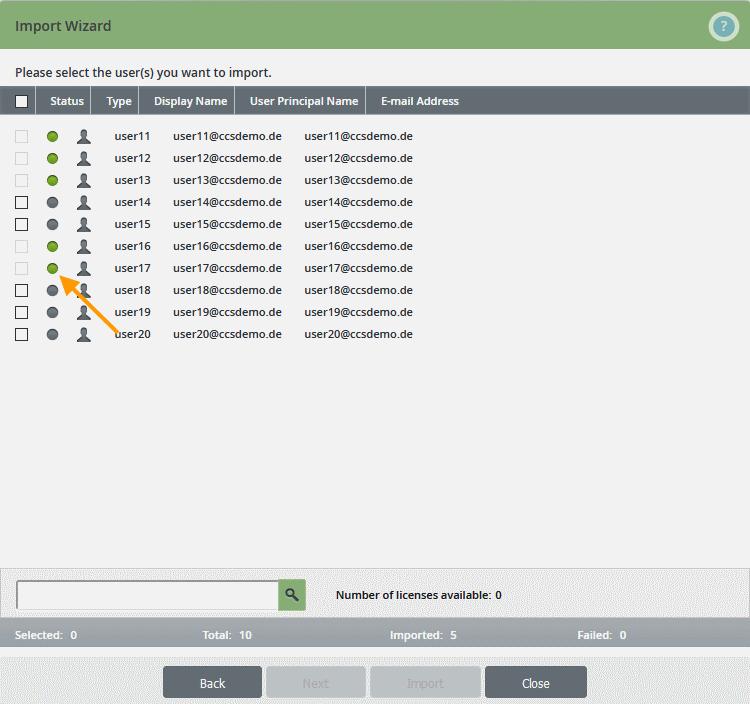 Nutzer erfolgreich importiert (grüne Punkte)