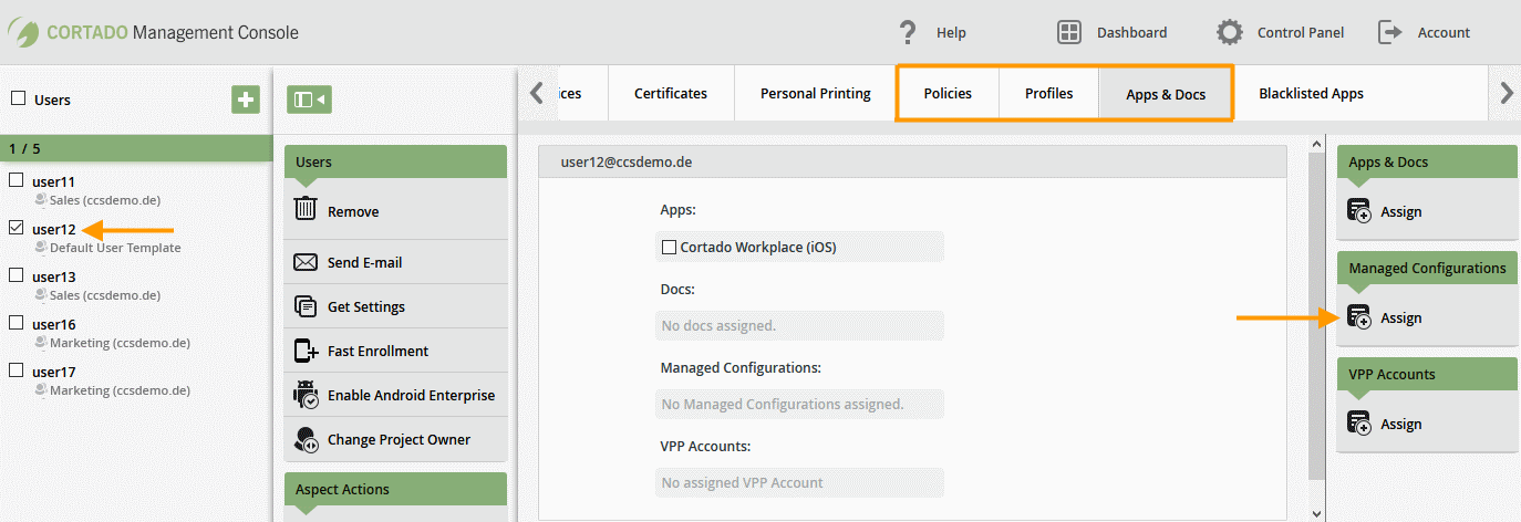 assign Managed Configurations (example)