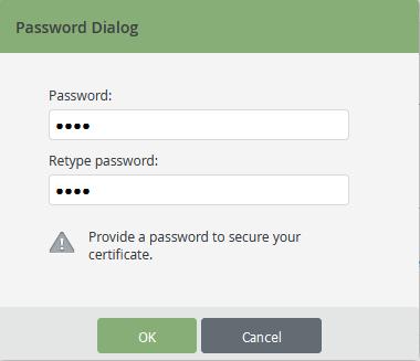 Zertifikat-Passwort vergeben