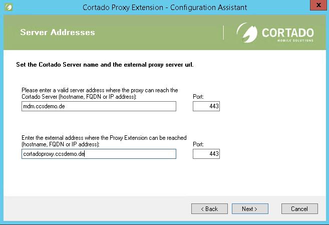 Cortado-Server und Proxy-Server eintragen