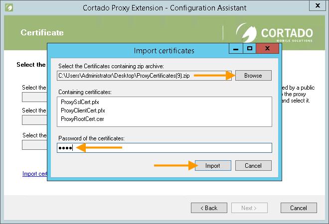 Zertifikatdatei auswählen und Zertifikatpasswort eingeben