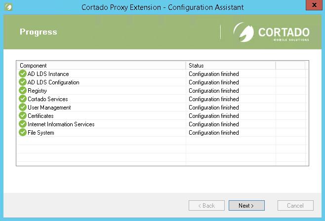 Erfolgreich konfigurierter Proxy-Server