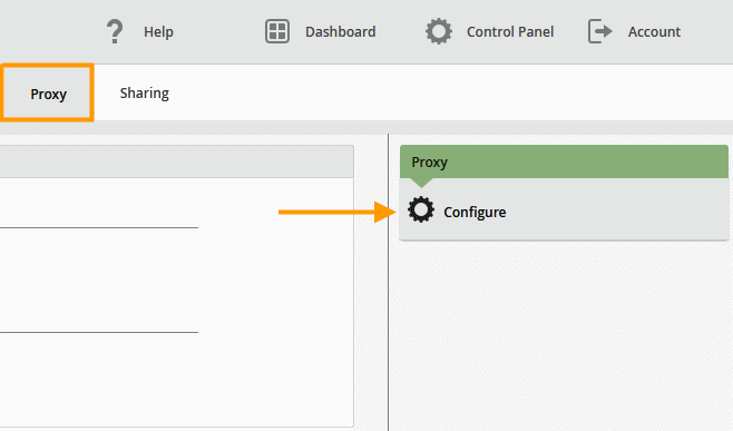 Cortado Management Console: select Proxy→ Configure