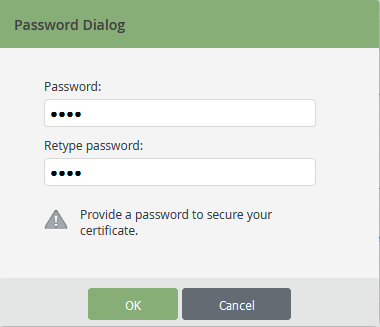 set certificate password