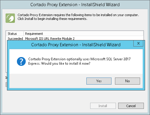 Optional: installation of a local SQL server