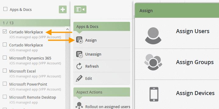 App Cortado Workplace den Nutzer, Gruppen oder Geräten zuweisen