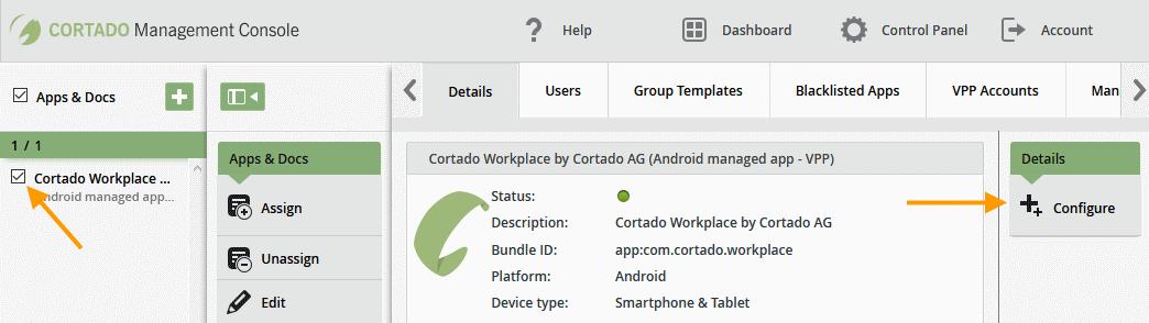 App auswählen und konfigurieren