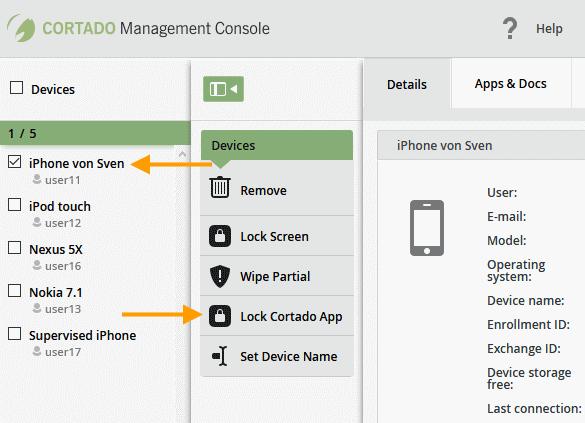 Gerät auswählen und Cortado-App sperren